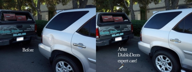 before and after paintless dent repair photo