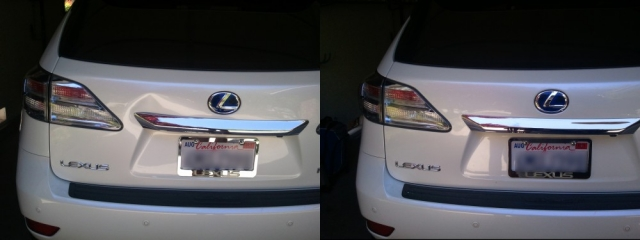 Before and after photo Lexus dent repair